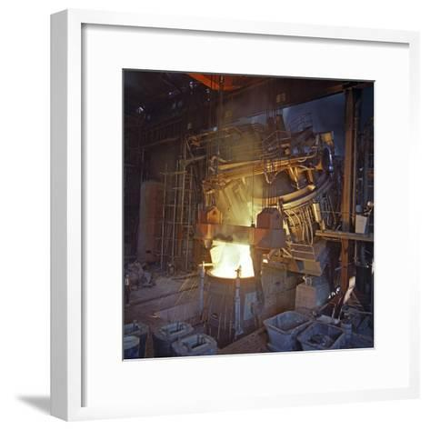 75 Ton Arc Furnace Pouring Molten Steel into a Vessel, Sheffield, South Yorkshire, 1969-Michael Walters-Framed Art Print