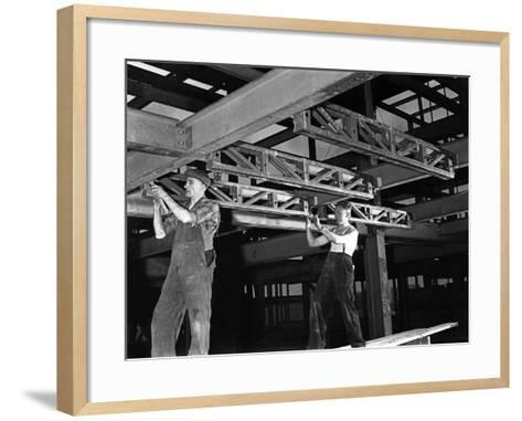 Engineers Lifting Steelwork into Position, South Yorkshire, 1954-Michael Walters-Framed Art Print