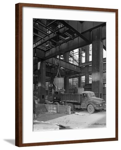 Austin Lorry on a Construction Site, Leeds, West Yorkshire, 1959-Michael Walters-Framed Art Print