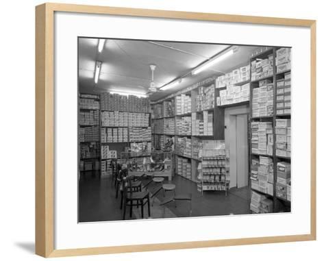 Sports Shop Interior, Sheffield, South Yorkshire, 1961-Michael Walters-Framed Art Print
