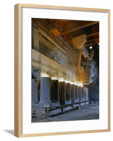 Teeming (Pouring) Steel Ingots, Park Gate Iron and Steel Co, Rotherham, South Yorkshire, 1965-Michael Walters-Framed Art Print