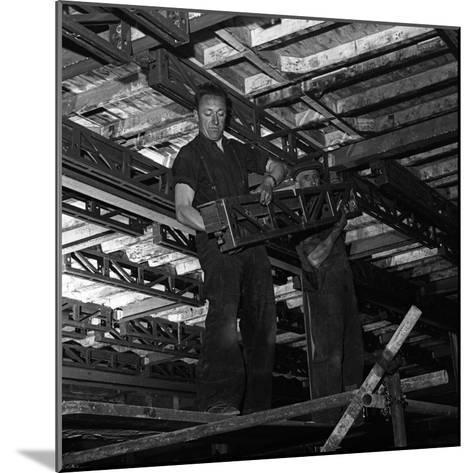 Engineers Lifting Steelwork into Position, South Yorkshire, 1954-Michael Walters-Mounted Photographic Print