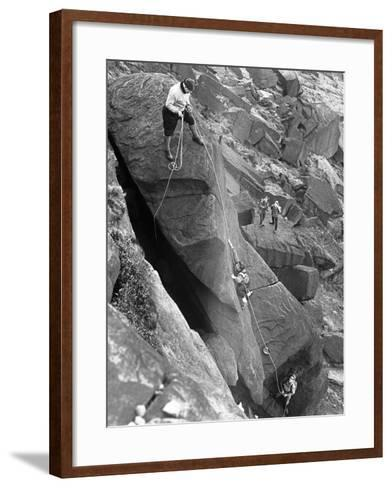 Climbers on Stanage Edge, Hathersage, Derbyshire, 1964-Michael Walters-Framed Art Print