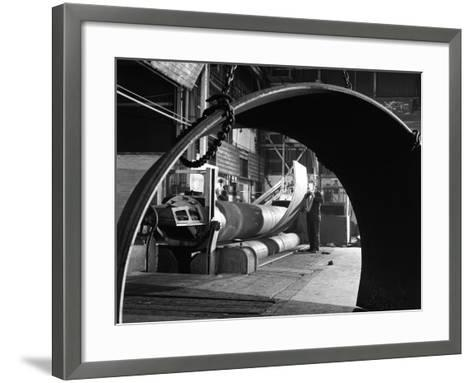 Rolling Plate at Edgar Allens Steel Foundry, Sheffield, South Yorkshire, 1964-Michael Walters-Framed Art Print