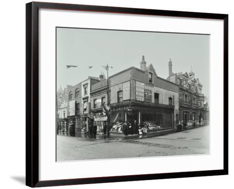 Shops and Sign to Putney Roller Skating Rink, Putney Bridge Road, London, 1911--Framed Art Print