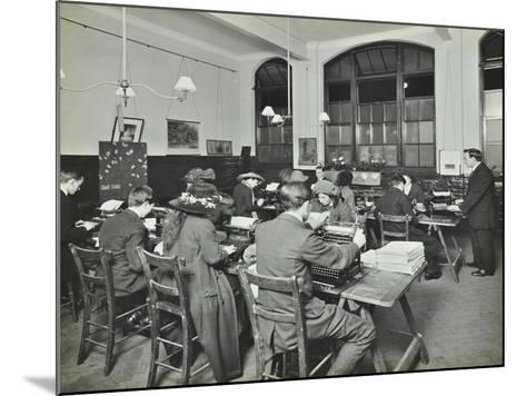 Typewriting Class, Hammersmith Commercial Institute, London, 1913--Mounted Photographic Print