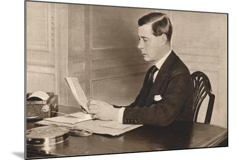 Edward Viii Working in His Office at St. Jamess Palace, London, 1936--Mounted Photographic Print