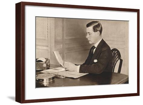 Edward Viii Working in His Office at St. Jamess Palace, London, 1936--Framed Art Print