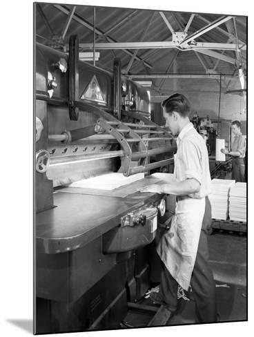 Page Cutting Guillotine in Use at a South Yorkshire Printing Company, 1959-Michael Walters-Mounted Photographic Print