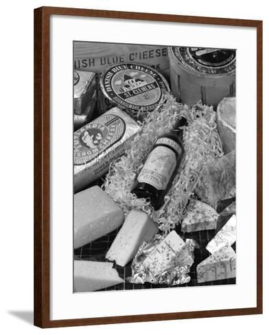 A Selection of Danish Cheeses and a Bottle of Aalborg Aquavit, 1963-Michael Walters-Framed Art Print