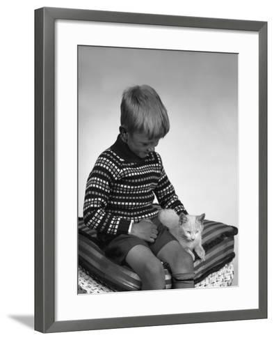 Child with a Cat, 1963-Michael Walters-Framed Art Print