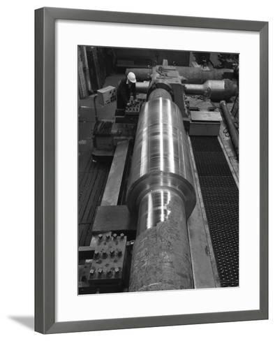 Toolholder Turning a Giant Roller, Edgar Allens, Sheffield, 1964-Michael Walters-Framed Art Print