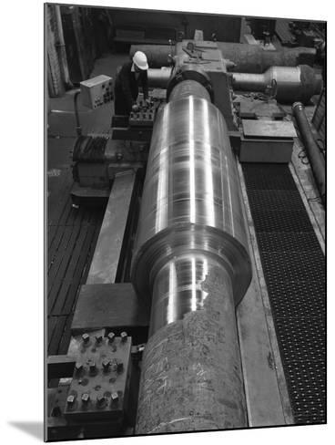 Toolholder Turning a Giant Roller, Edgar Allens, Sheffield, 1964-Michael Walters-Mounted Photographic Print
