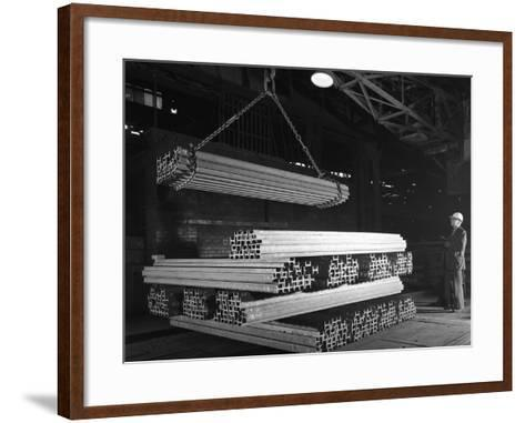 Steel H Girders Being Stacked for Distribution, Park Gate, Rotherham, South Yorkshire, 1964-Michael Walters-Framed Art Print