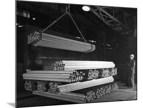 Steel H Girders Being Stacked for Distribution, Park Gate, Rotherham, South Yorkshire, 1964-Michael Walters-Mounted Photographic Print