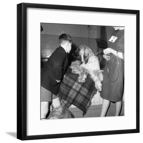 Child with an Afghan Hound at a Dog Show in Horden, County Durham, 1963-Michael Walters-Framed Art Print