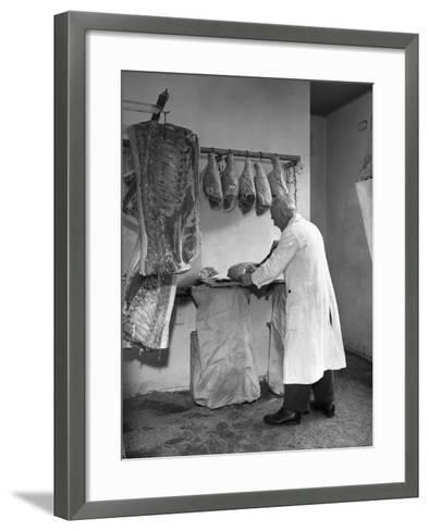 Dressing Meat for Sale, Rawmarsh, South Yorkshire, 1955-Michael Walters-Framed Art Print