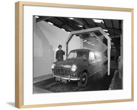 Mini Van Being Washed in a Car Wash, Co-Op Garage, Scunthorpe, Lincolnshire, 1965-Michael Walters-Framed Art Print