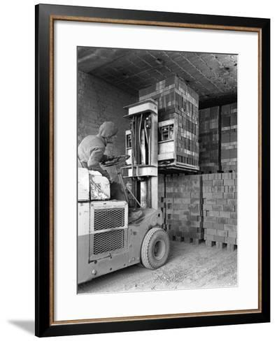 A Yardsman Stacking Pallets of Bricks, Whitwick Brickworks, Coalville, Leicestershire, 1963-Michael Walters-Framed Art Print