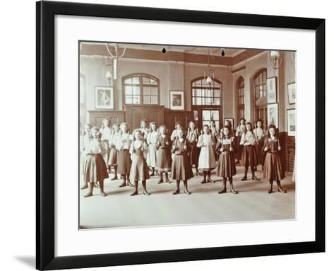 Girls Holding Indian Clubs, Cromer Street School/ Argyle School, St Pancras, London, 1906--Framed Art Print