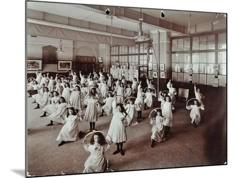 Girls with Hoops, Lavender Hill Girls School, Bermondsey, London, 1906--Mounted Photographic Print