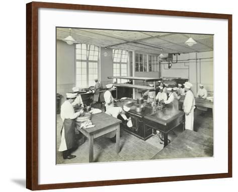 Male Cookery Students at Work in the Kitchen, Westminster Technical Institute, London, 1910--Framed Art Print