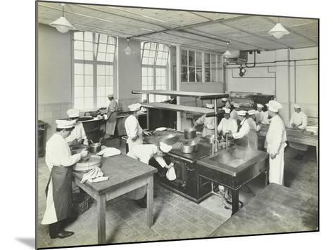 Male Cookery Students at Work in the Kitchen, Westminster Technical Institute, London, 1910--Mounted Photographic Print