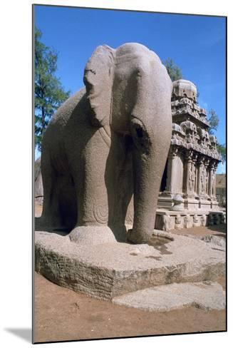 Carved Stone Elephant, Five Rathas, Mahabalipuram, Tamil Nadu, India-Vivienne Sharp-Mounted Photographic Print