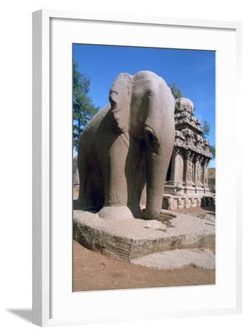 Carved Stone Elephant, Five Rathas, Mahabalipuram, Tamil Nadu, India-Vivienne Sharp-Framed Art Print