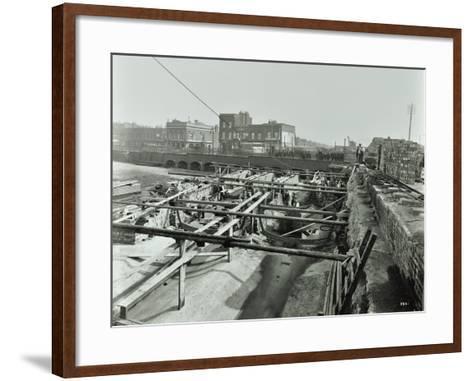 Building the Sewer at Stratford High Street, West Ham, London, 1905--Framed Art Print
