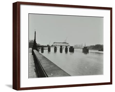 Temporary Bridge over the River Thames Being Dismantled, London, 1948--Framed Art Print