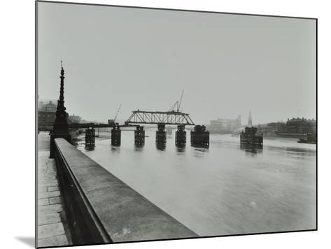 Temporary Bridge over the River Thames Being Dismantled, London, 1948--Mounted Photographic Print
