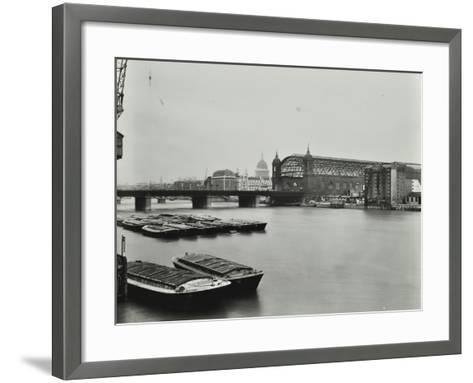 View across the Thames to Cannon Street Station, London, 1958--Framed Art Print