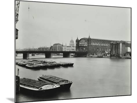 View across the Thames to Cannon Street Station, London, 1958--Mounted Photographic Print