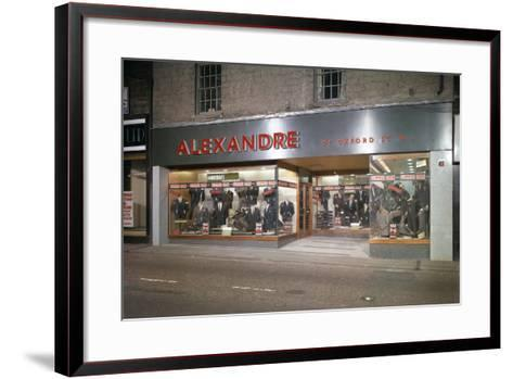 Alexandre of Oxford Street, Mens Clothes Shop Frontage, Mexborough, South Yorkshire, 1963-Michael Walters-Framed Art Print