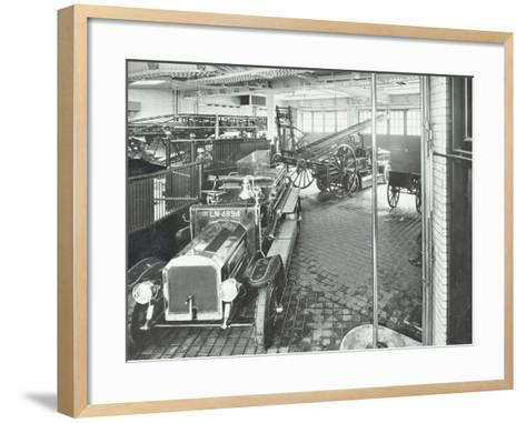 Fire Engines and Equipment at Cannon Street Fire Station, City of London, 1913--Framed Art Print