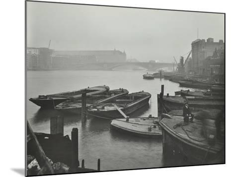 Barges Moored at Bankside Wharves Looking Downstream, London, 1913--Mounted Photographic Print