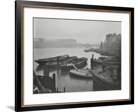 Barges Moored at Bankside Wharves Looking Downstream, London, 1913--Framed Art Print
