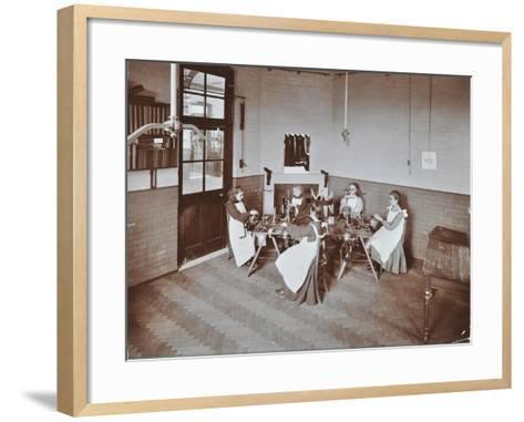 Girls Knitting Socks by Machine at the Elm Lodge School for Blind Girls, London, 1908--Framed Art Print