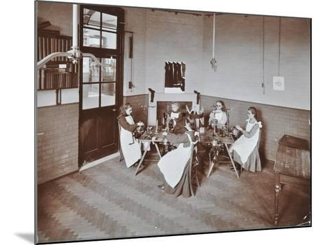 Girls Knitting Socks by Machine at the Elm Lodge School for Blind Girls, London, 1908--Mounted Photographic Print