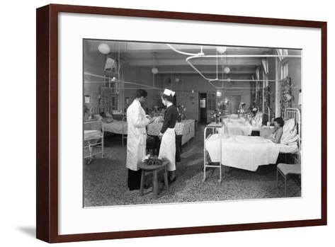 The Female Medical Ward at the Montague Hospital, Mexborough, South Yorkshire, 1959-Michael Walters-Framed Art Print