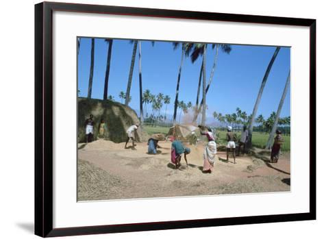 Threshing Rice, Near Madurai, Tamil Nadu, India-Vivienne Sharp-Framed Art Print