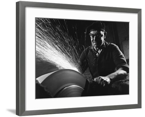 Grinding (Sharpening), Everlast Garden Tools, Sheffield, South Yorkshire, 1965-Michael Walters-Framed Art Print