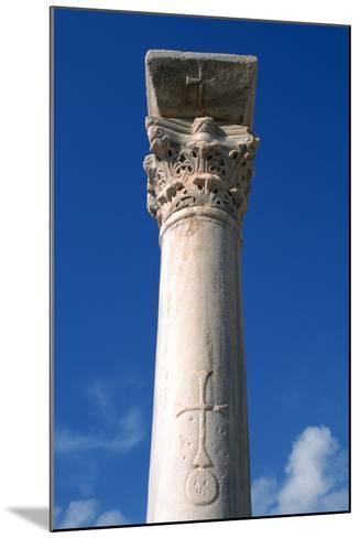 Cross Inscribed on a Column, Apollonia, Libya-Vivienne Sharp-Mounted Photographic Print
