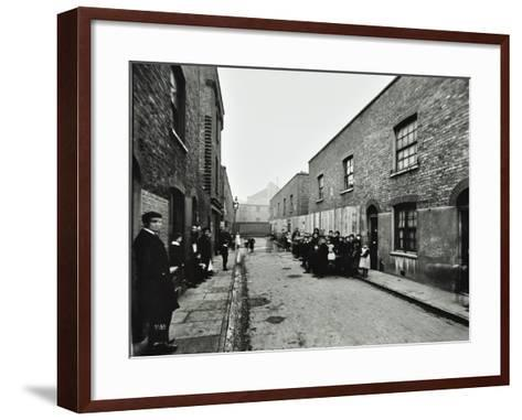 People Outside Boarded-Up Houses in Ainstey Street, Bermondsey, London, 1903--Framed Art Print