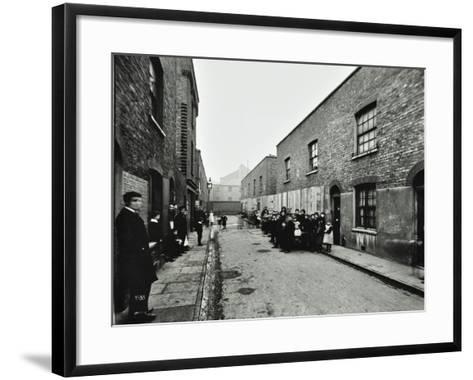 People Outside Boarded-Up Houses in Ainstey Street, Bermondsey, London, 1903--Framed Art Print