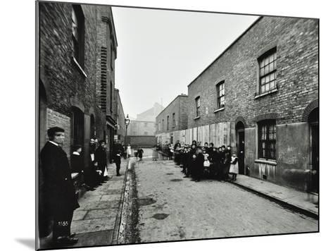 People Outside Boarded-Up Houses in Ainstey Street, Bermondsey, London, 1903--Mounted Photographic Print