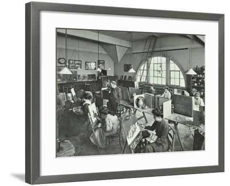 Female Students Painting Still Lifes, Hammersmith School of Arts and Crafts, London, 1910--Framed Art Print