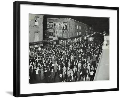 Crowds of Shoppers in Rye Lane at Night, Peckham, London, 1913--Framed Art Print