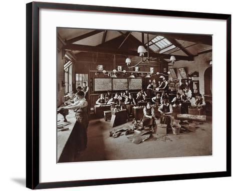 Boys Making Shoes at the Anerley Residential School for Elder Deaf Boys, Penge, 1908--Framed Art Print